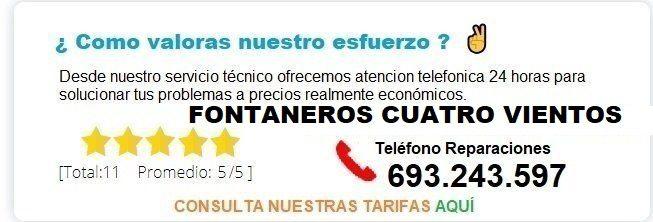 Fontanero Cuatro Vientos precio